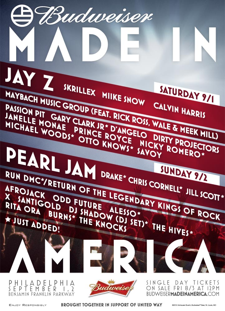 , Made In America Festival Adds Drake, Chris Cornell, Run DMC & More, Life+Times